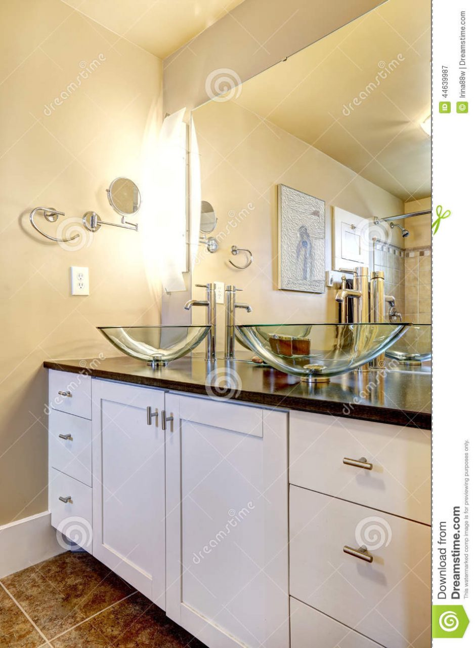 Bathroom Vanity Cabinet With Glass Vessel Sinks Stock Image Image