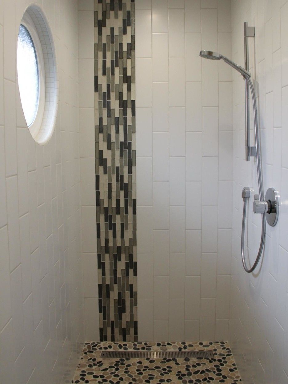 Bathroom Vertical White Ceramic Glass Tile Shower Room Wall Panel