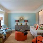 Blue with Orange Accent Living Room