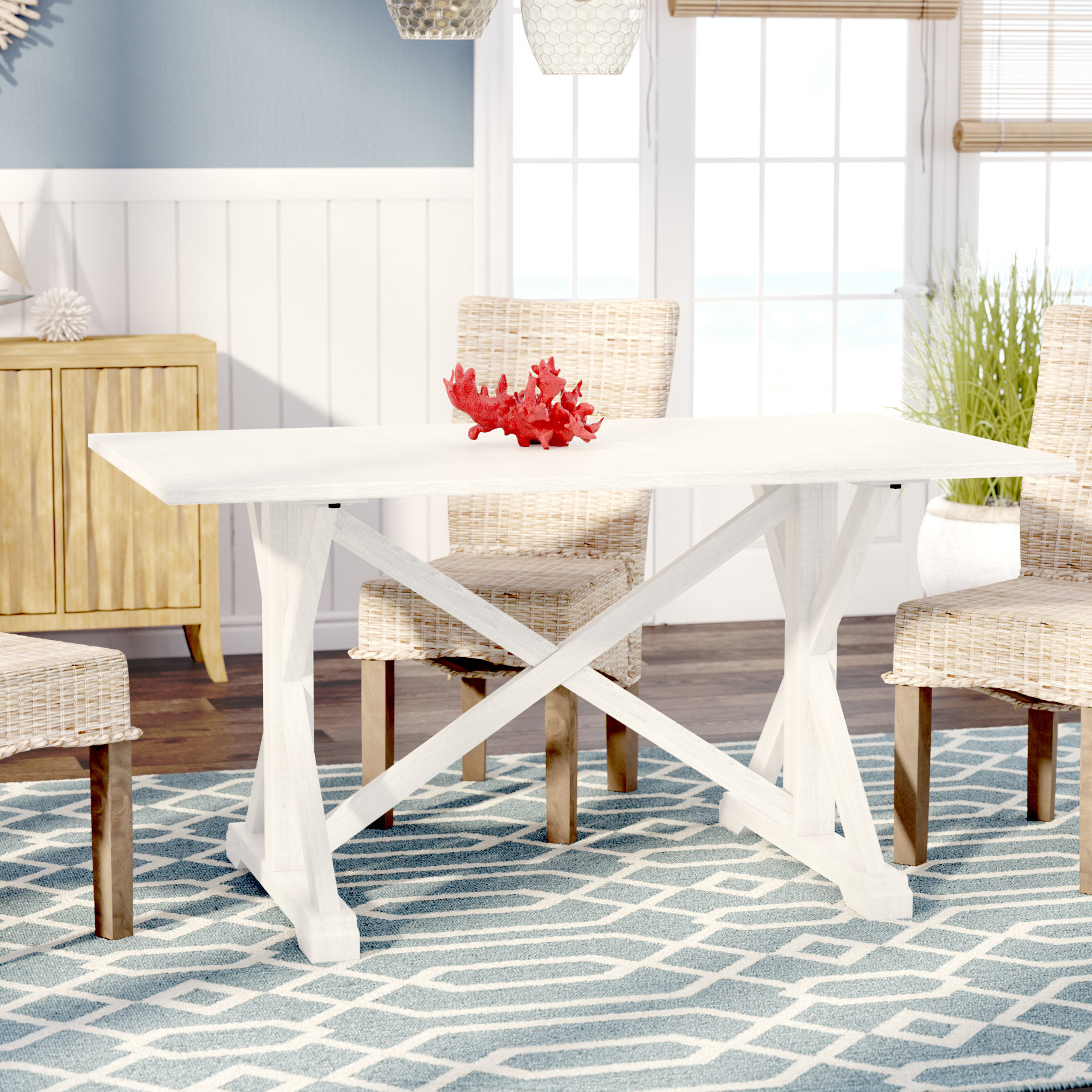 Beachcrest Home Roeper Distressed Farmhouse Dining Table Reviews