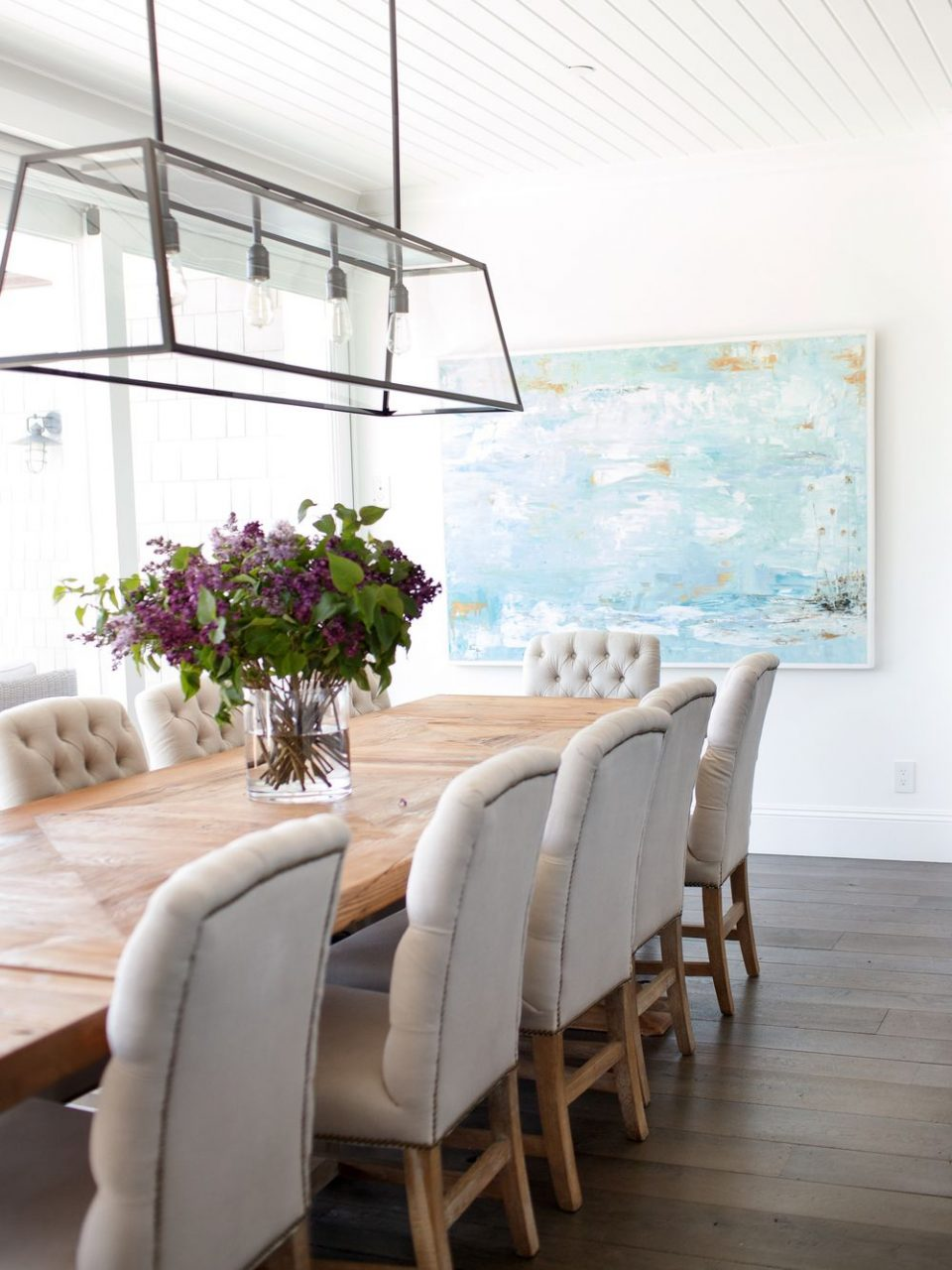 Beachy Dining Room Beadboard Ceiling Linear Dining Room Light