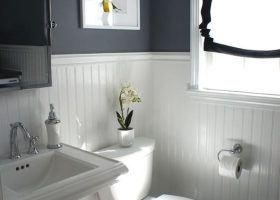 Black Beadboard Bathroom Walls