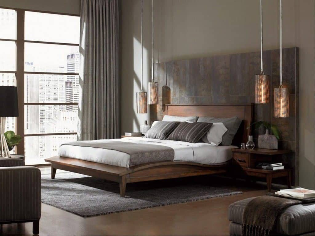 Bedroom With Hanging Pendant Lighting And Platform Bed The