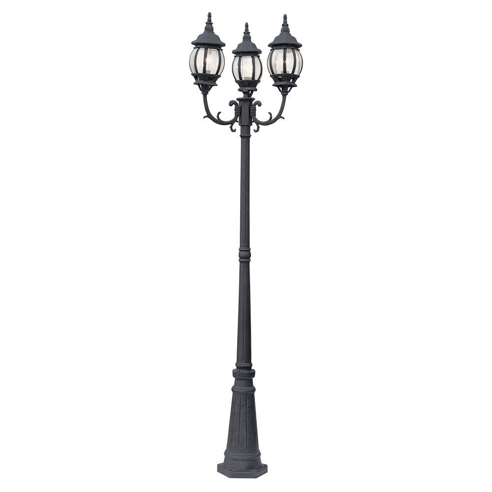 Bel Air Lighting Filigree 3 Light Black Outdoor Lamp Post With Clear