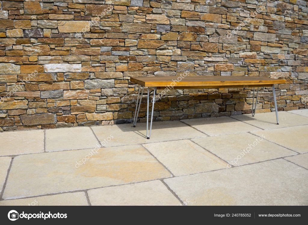 Bench Stone Terrace Front Stone Wall Stock Photo Fotoquique