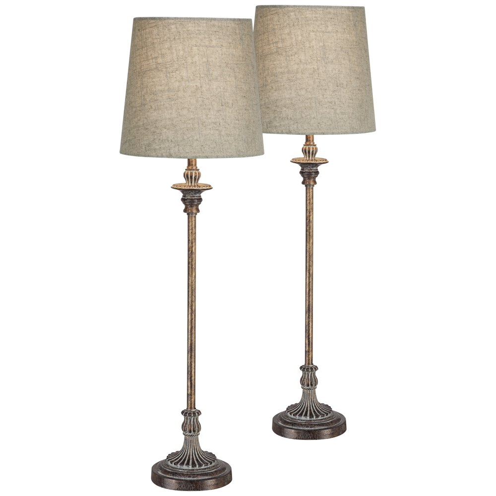 Bentley Weathered Brown Buffet Table Lamp Set Of 2 Style 17p69