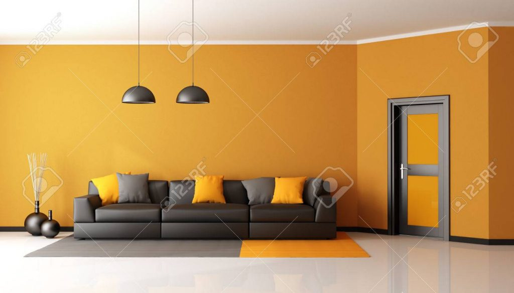 Black And Orange Living Room With Sofa And Closed Door 3d