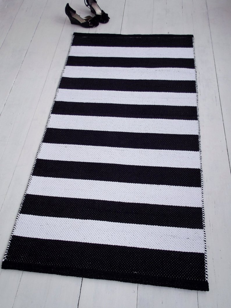 Black And White Striped Rug Small Cotton Rug Scandinavian Etsy