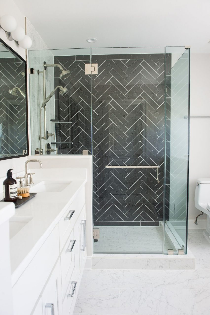 Black Herringbone Tile Bathroom Black And White Bathroom Shower