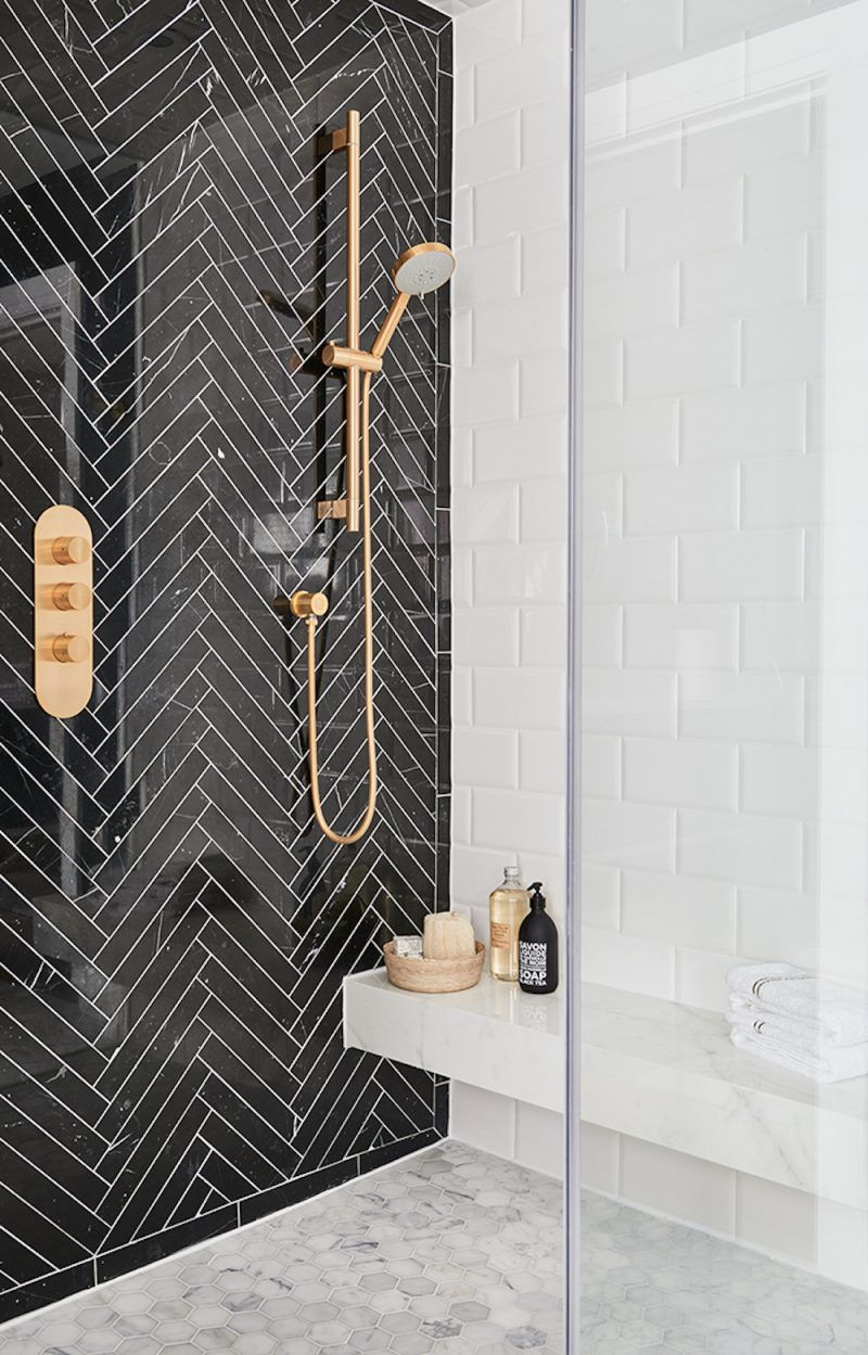 Black Herringbone Tile Feature Wall In Shower Ideas Para El Hogar