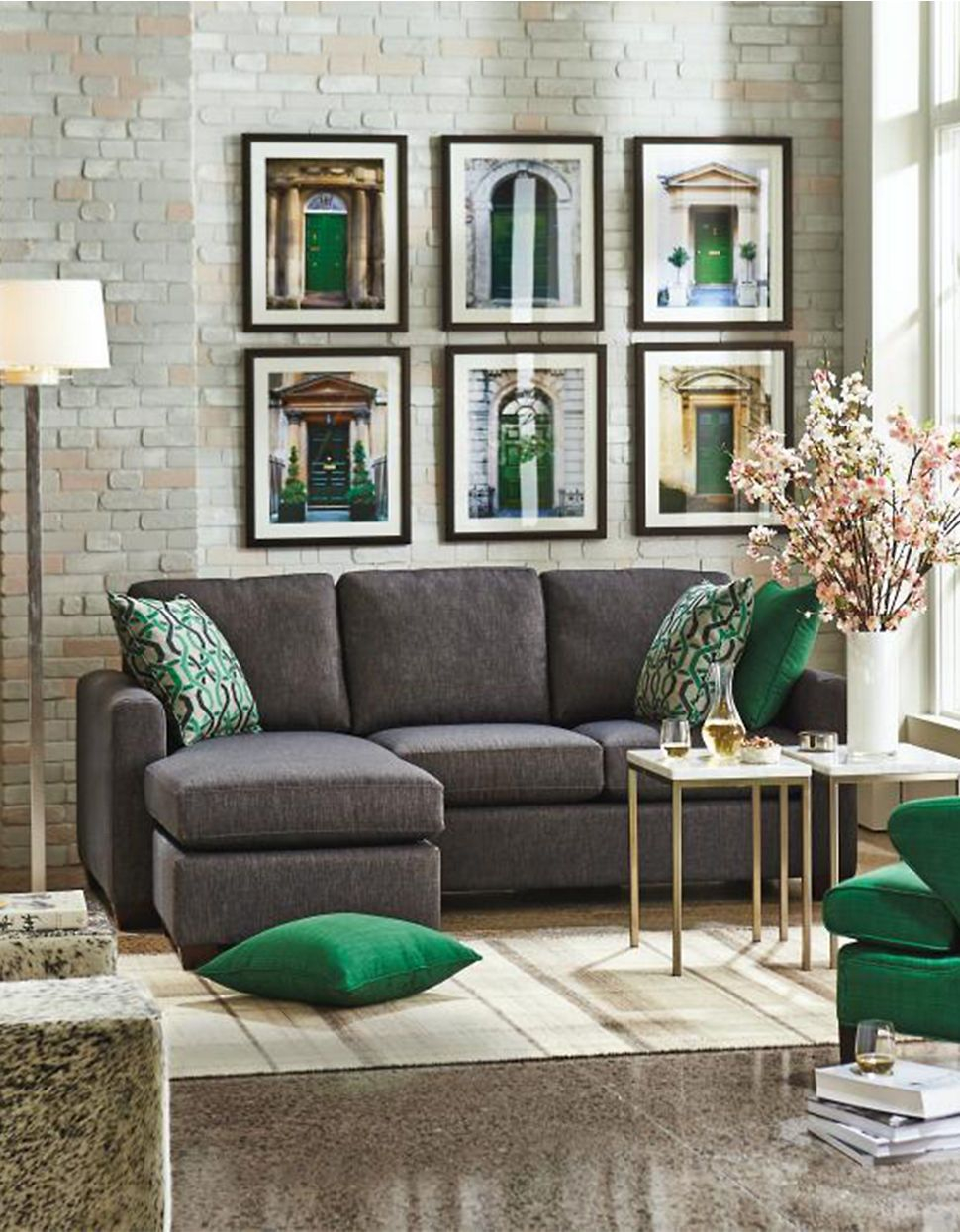 Blackcharcoal Green And Gold Andrea Sectional Sofa With Chaise