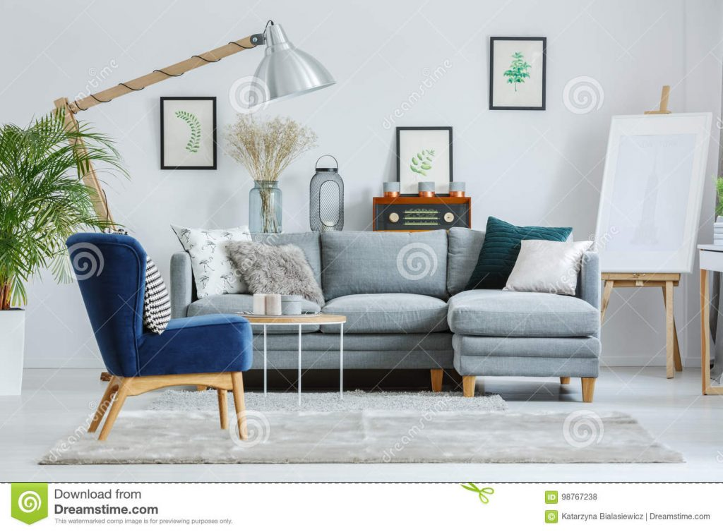 Blue Armchair On Grey Carpet Stock Photo Image Of Light Couch