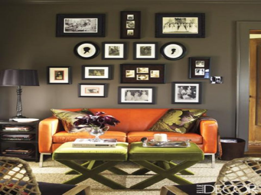Blue Draperies Burnt Orange Walls Living Room Orange And Gray Walls