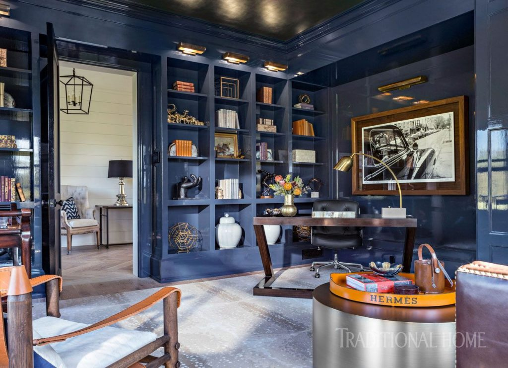 Blue Lacquered Walls And A Shimmery Ceiling Make A Dramatic
