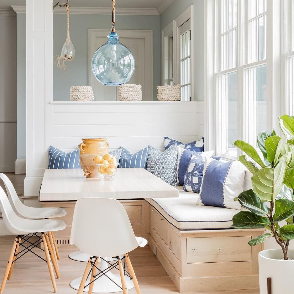 Blue White And Beige Is A Perfect Combination For A Family Kitchen