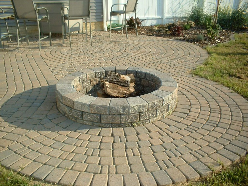 Brick Paver Patio With Fire Pit Lowes Fire Pit Bricks Landscaping