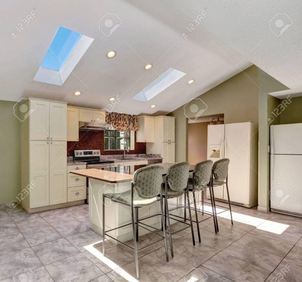 Bright Sunny Kitchen With Vaulted Ceiling And Skylights Old Stock