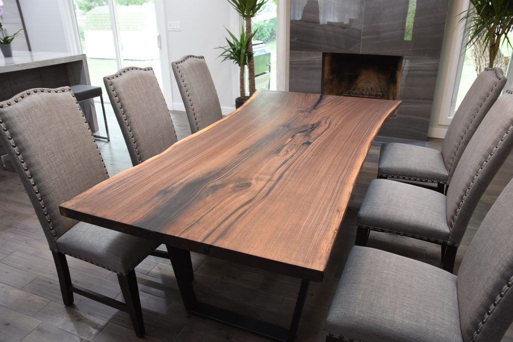 Buy A Custom Single Slab Black Walnut Live Edge Dining Table Made