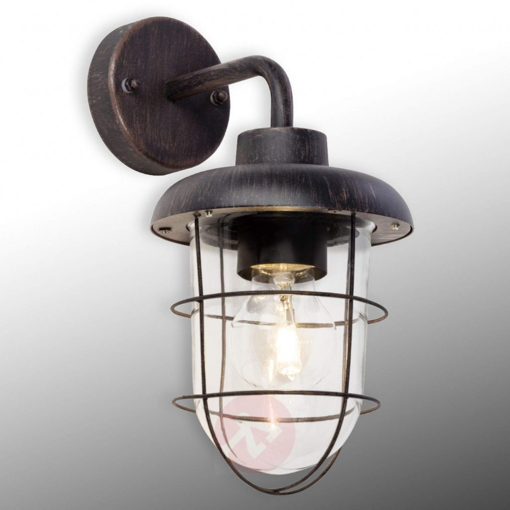 Carlisle Black Outdoor Wall Lamp Protective Basket Lightscouk
