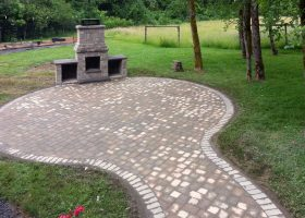 Brick Patio with Fire Pit
