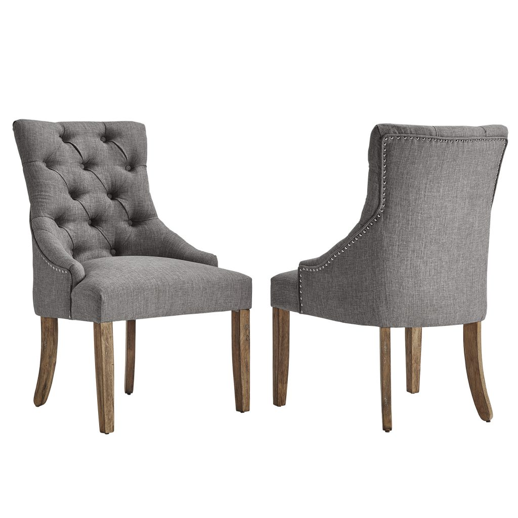 Chelsea Lane Curved Back Linen Tufted Dining Chair Set Of 2
