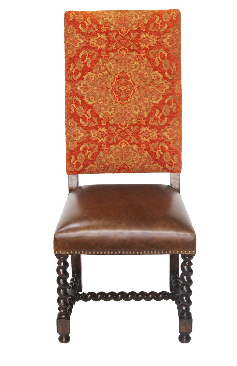 Chenille Leather Barley Twist Dining Chair Etsy