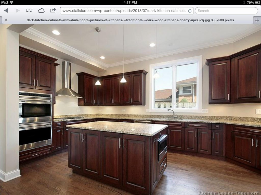 Cherry Kitchen Cabinets With Light Wood Floors Elegant