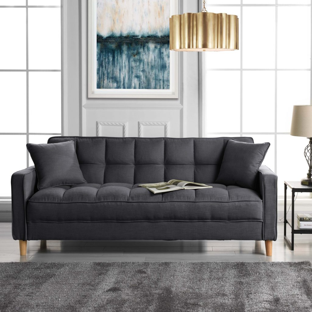 Classic Fabric Couch Tufted Small Space Living Room Sofa Natural
