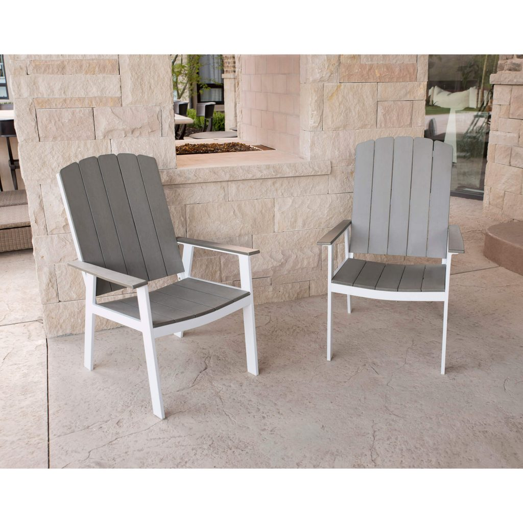 Coastal Outdoor Dining Chairs Set Of 2 Greywhite Metal Dining Room