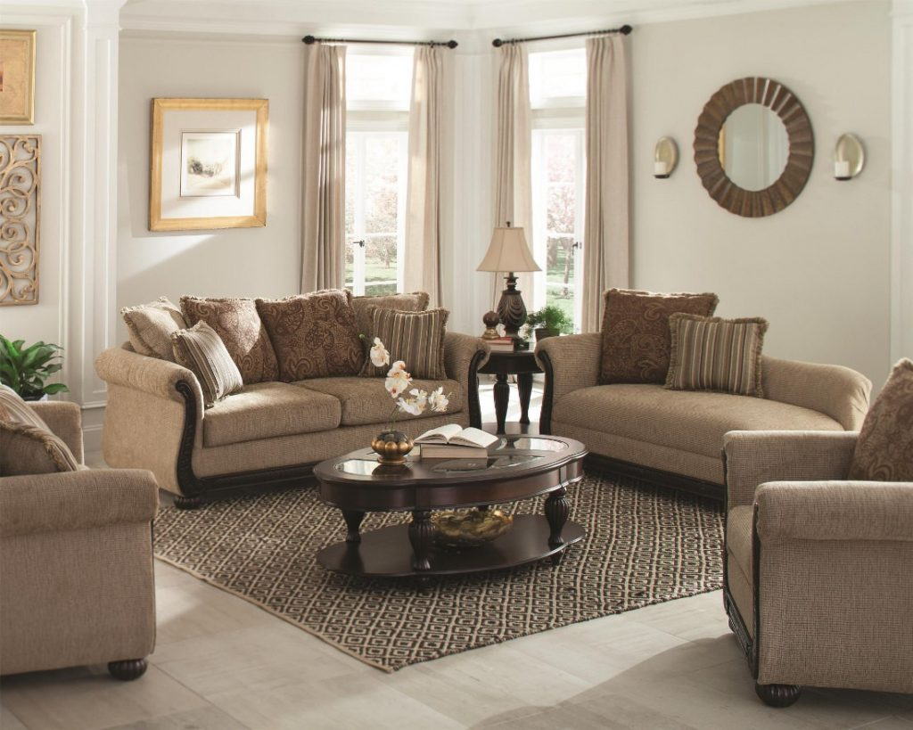 Coaster Beasley Traditional Living Room Set With Rolled Arms And