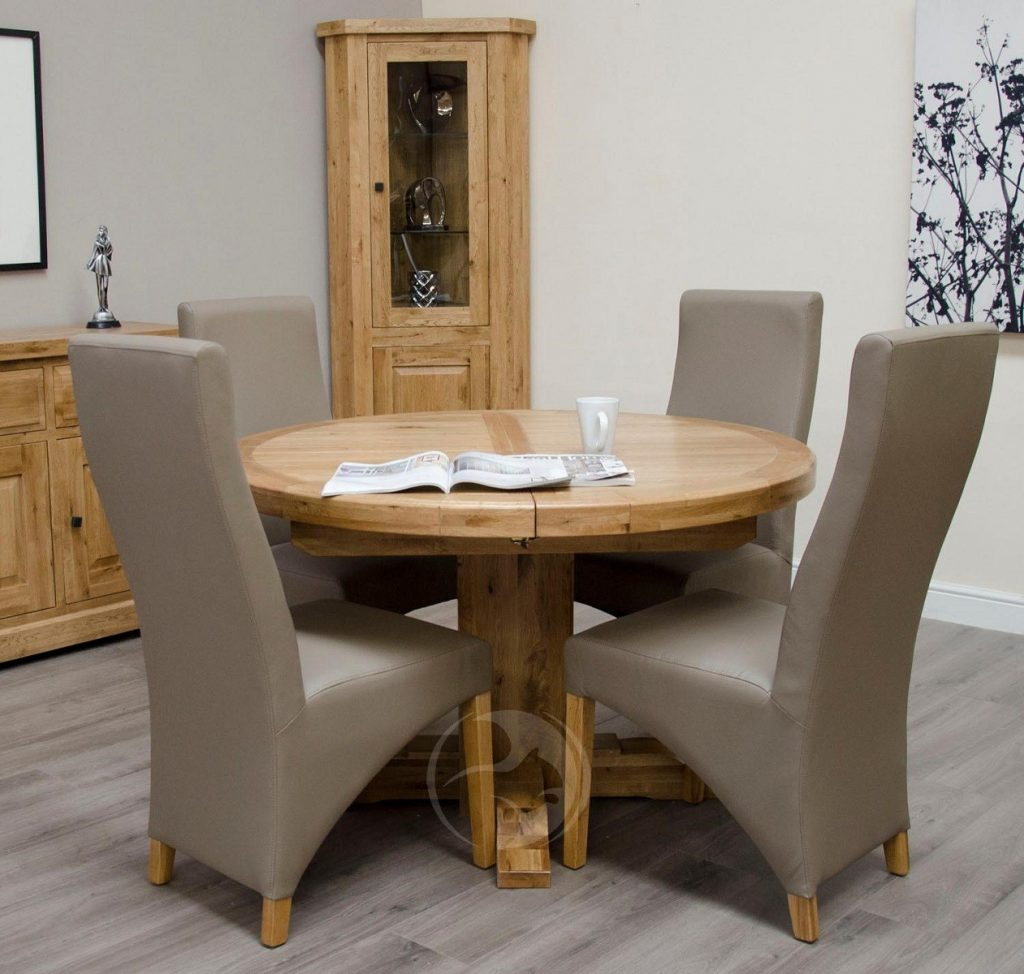 Coniston Rustic Solid Oak Round Extending Dining Table Oak