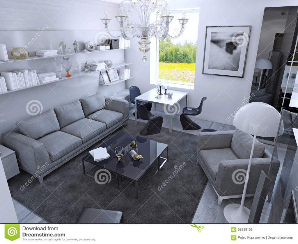 Contemporary Living Room In Daylight Stock Illustration