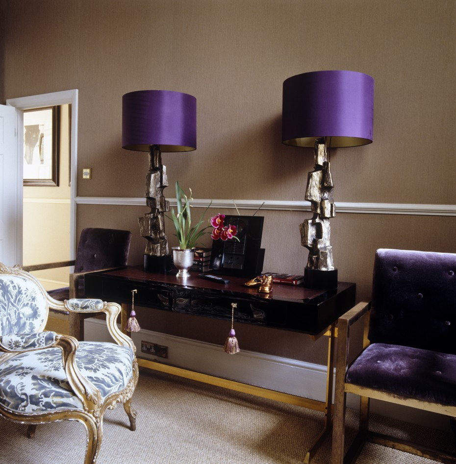 Cool Bedroom Design Ideas Purple Drum Shade Bedroom Table Lamps And