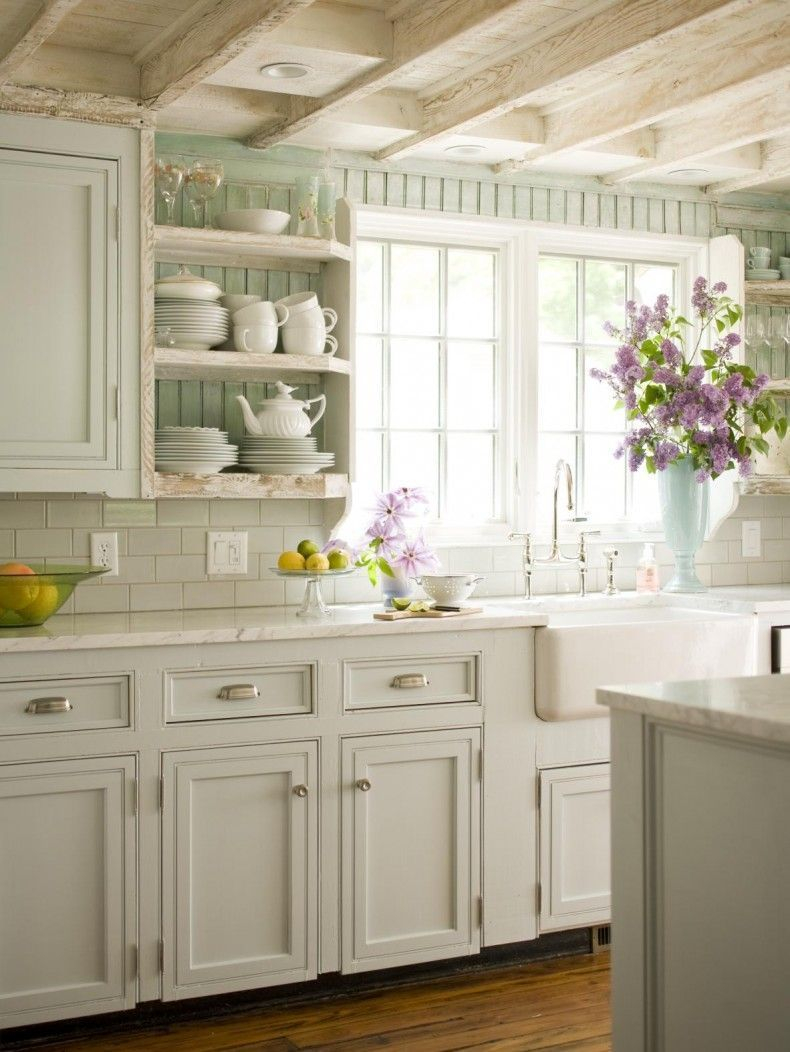 Cottage Style Kitchen With Whitewashed Wood Bright White Tiles And