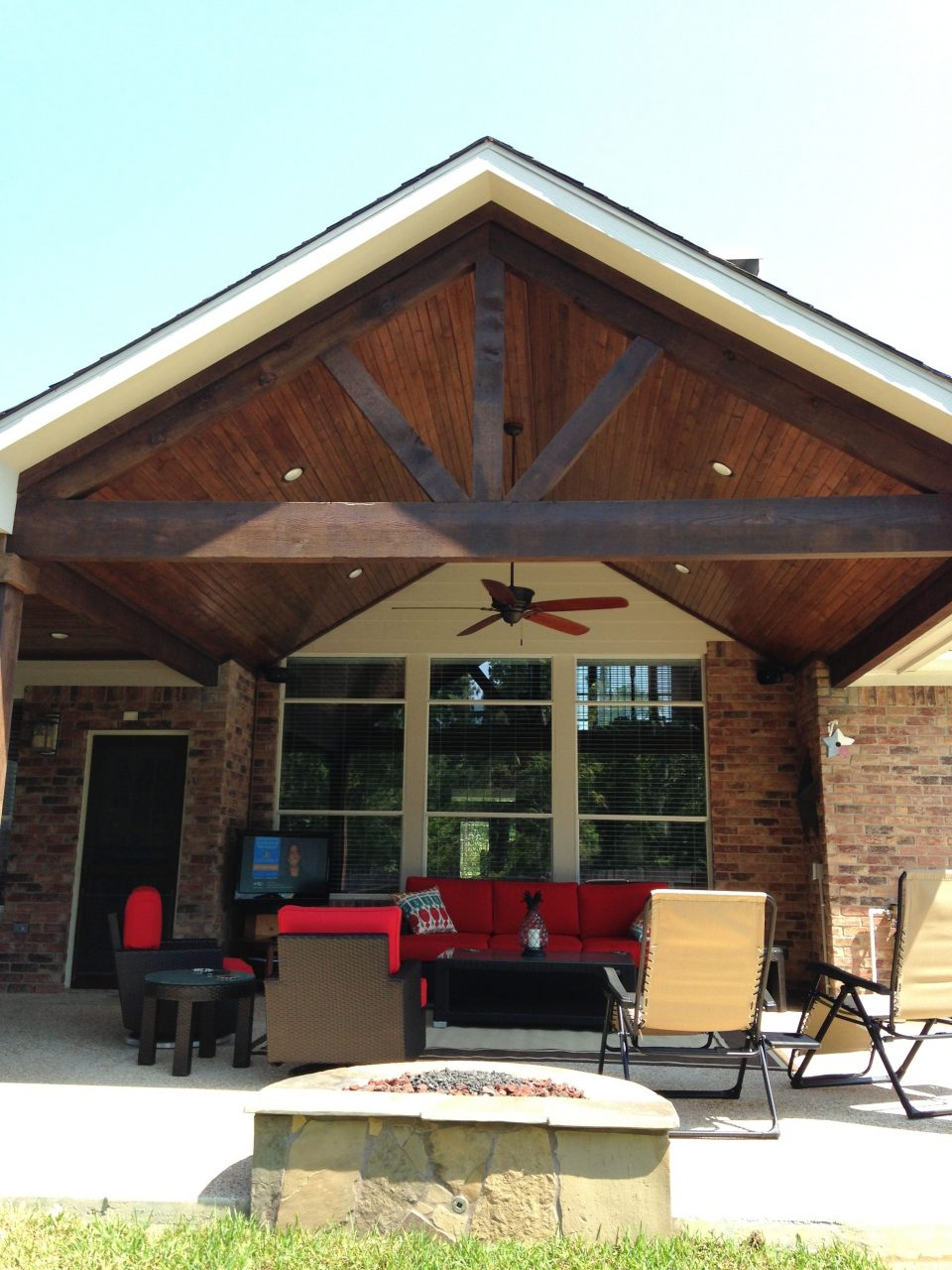 Covered Patioa Framestained Cedar Beams Pools Mitchell Custom