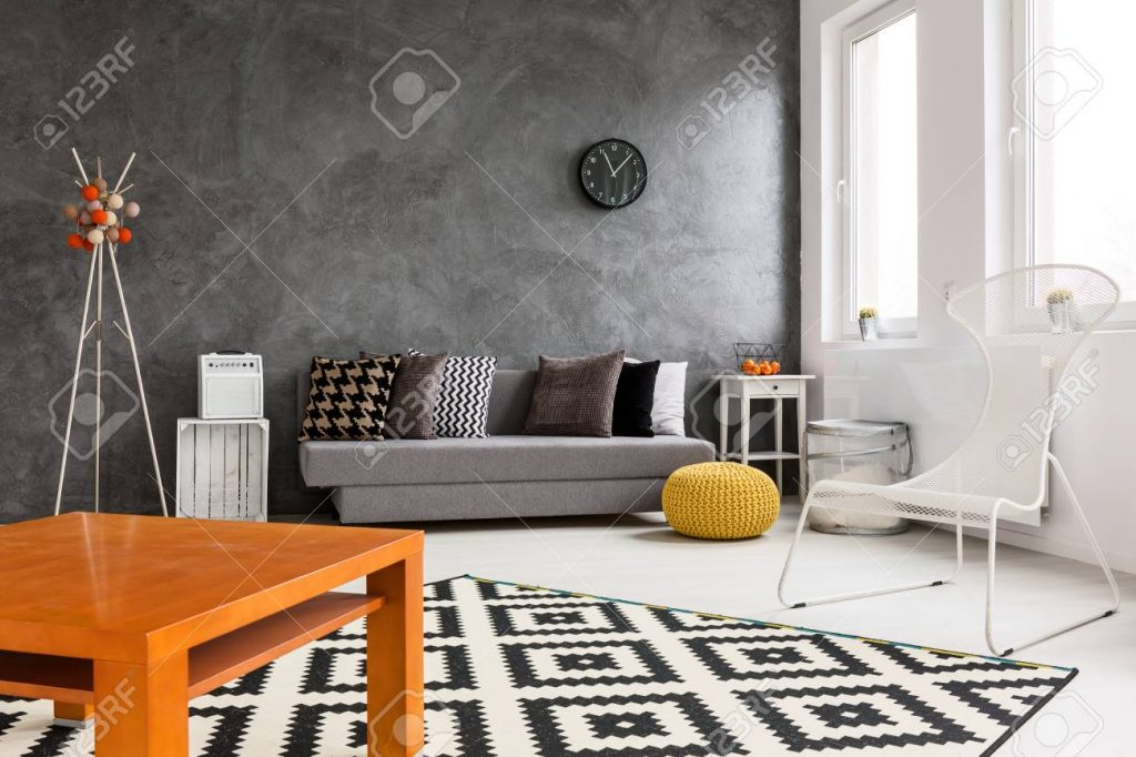Creative Design Of Spacious Living Room With Black White And