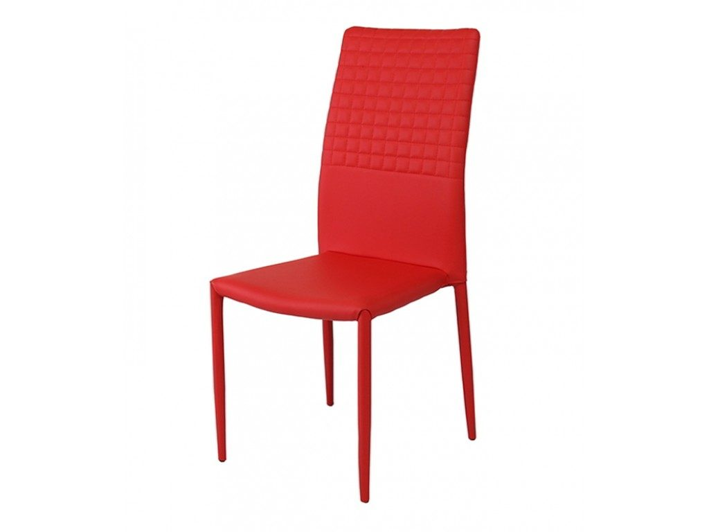Cuba Stackable Faux Leather Red Dining Chair