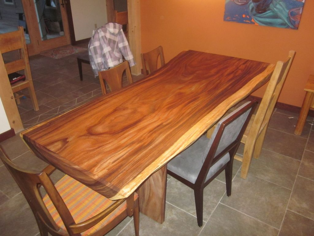 Custom Acacia Slab Dining Table Clean Air Woodworks Custommade
