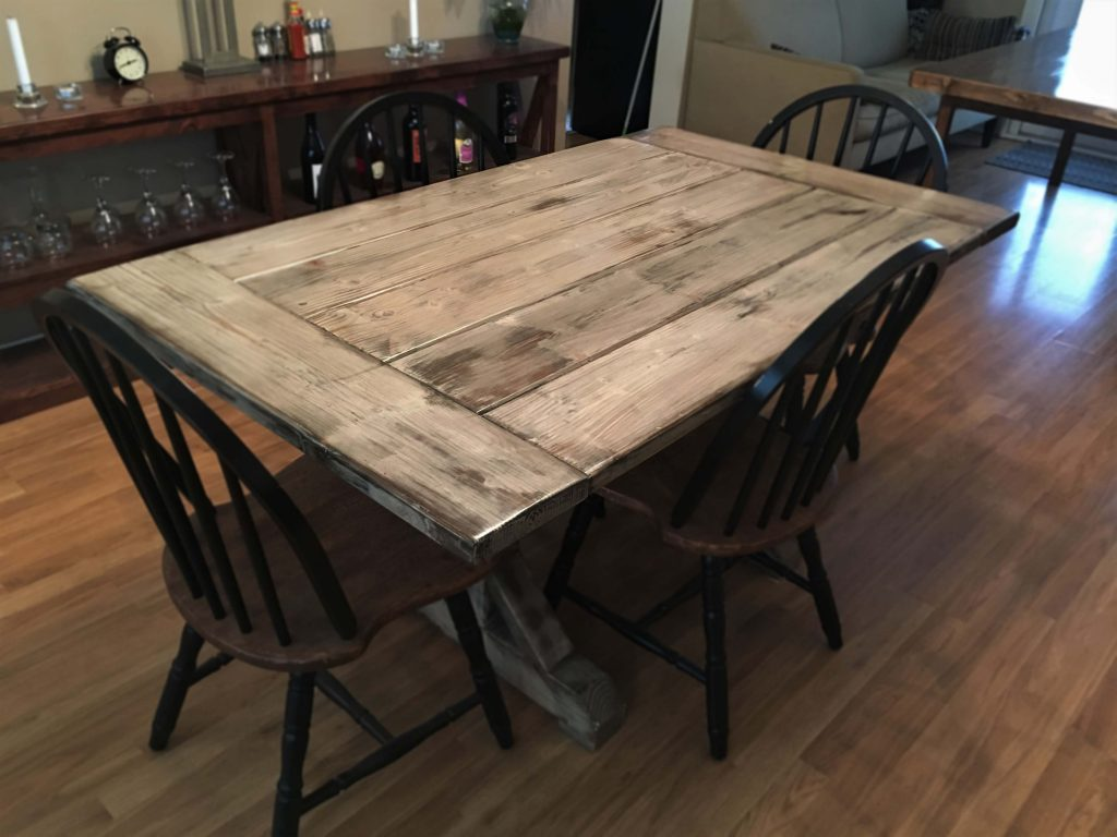 Custom Distressed Farmhouse Table Trestle Wood Indoor Outdoor