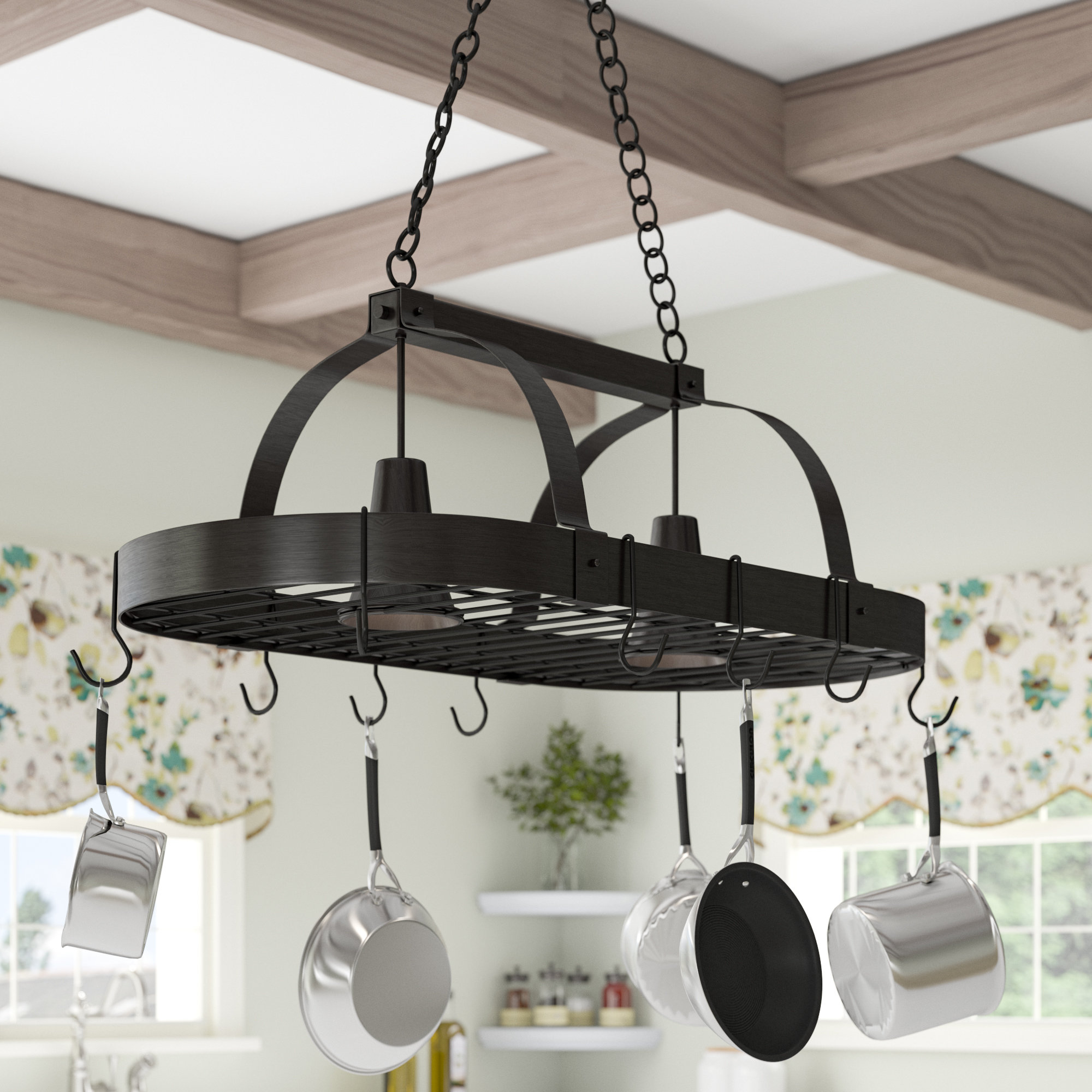 Dar Home Co 2 Light Kitchen Pot Rack Reviews Wayfair