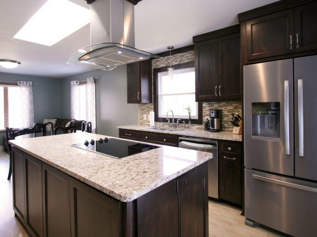 Dark Brown Kitchen Cabinets With Gray Walls Savae Org Grey Colour
