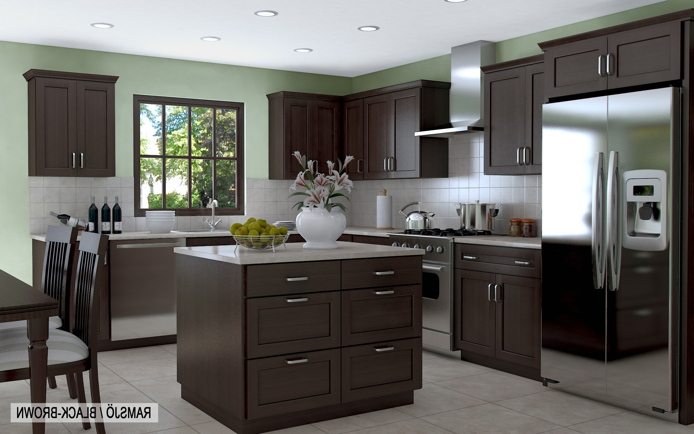Dark Brown Kitchen Cabinets With Grey Walls Replicaoutlet Layjao