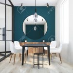 Black White and Green Dining Room