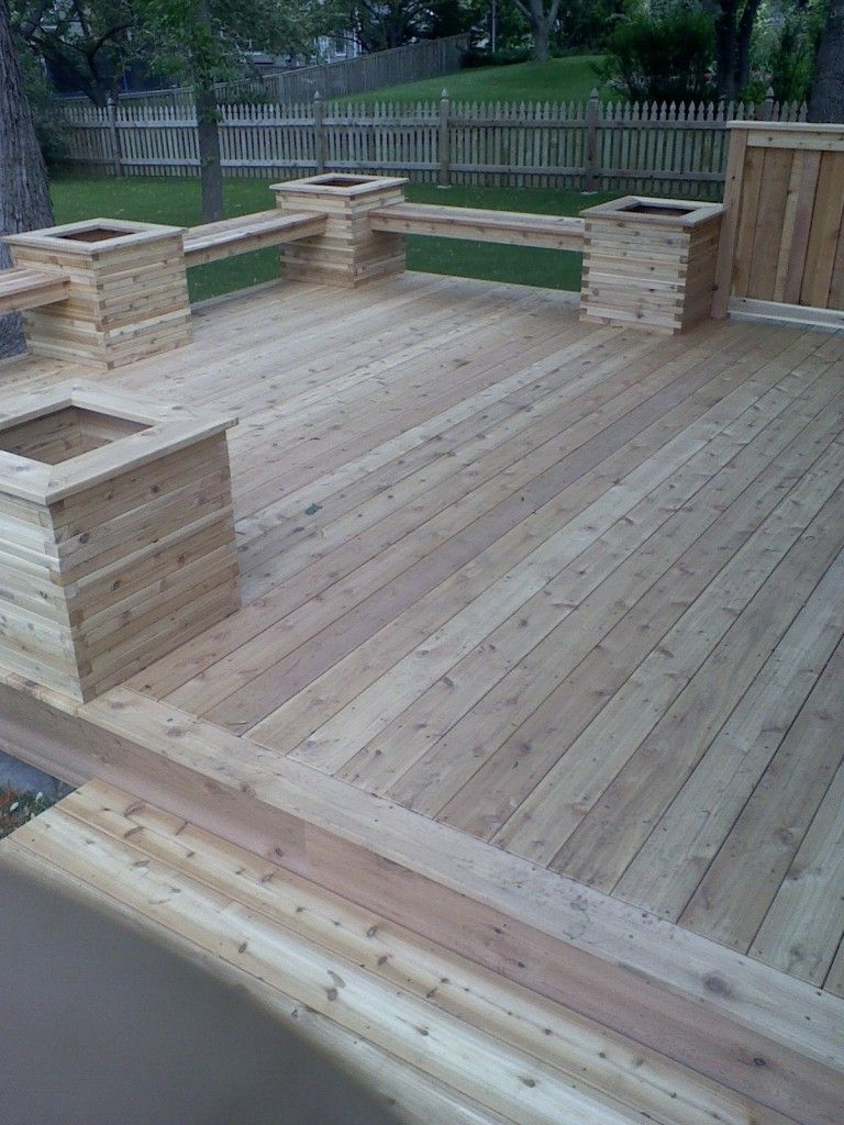 Deck With Planters And Benches And No Need For A Railing Back