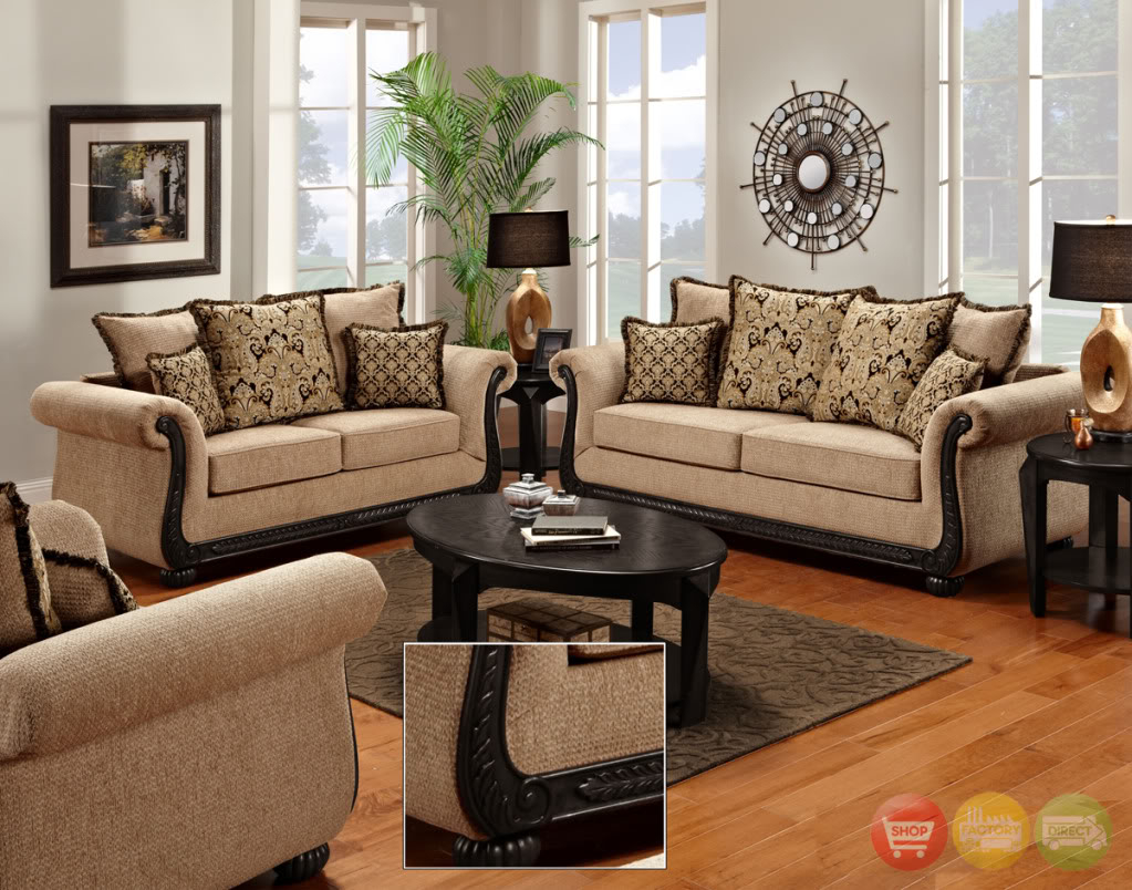 Delray Traditional Sofa Loveseat Chair 3pc Living Room Furniture