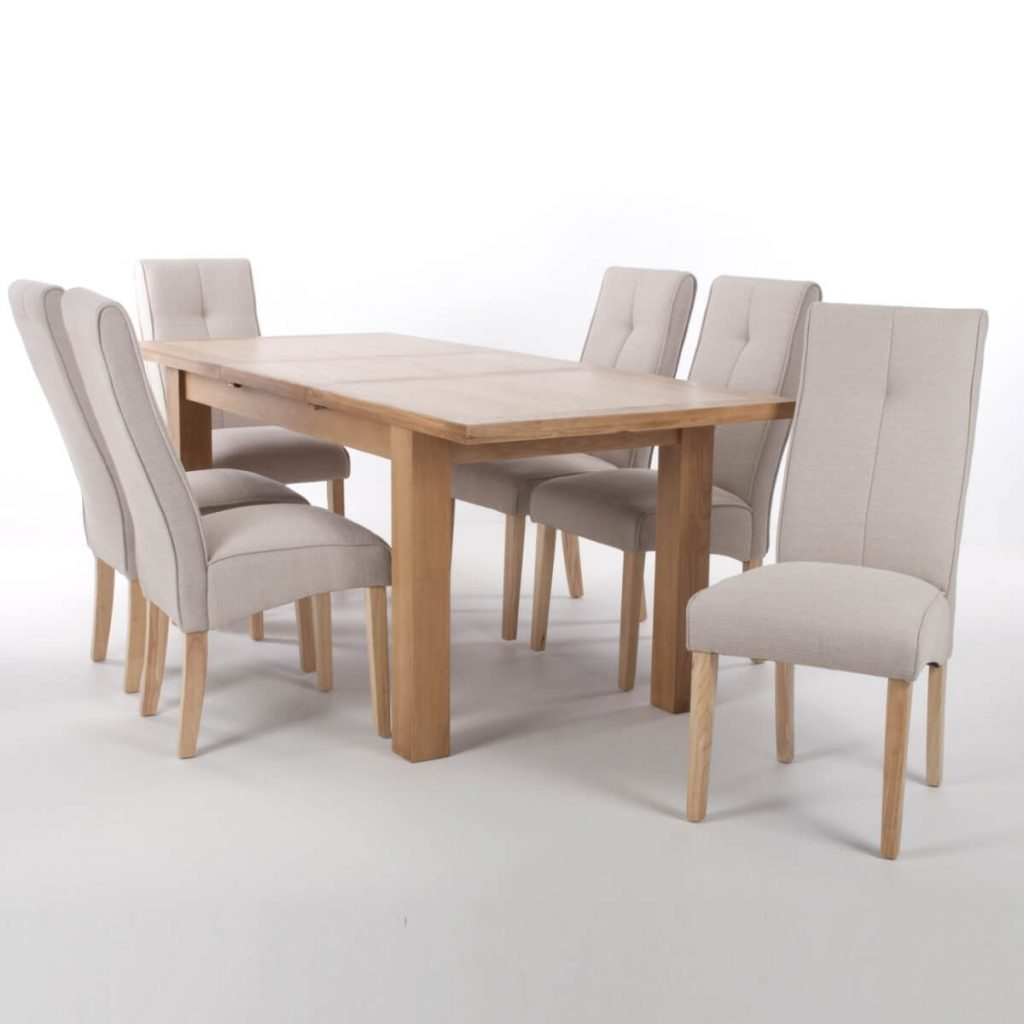 Dining Set Shankar Solid Oak Extending Dining Table And 6 Linea