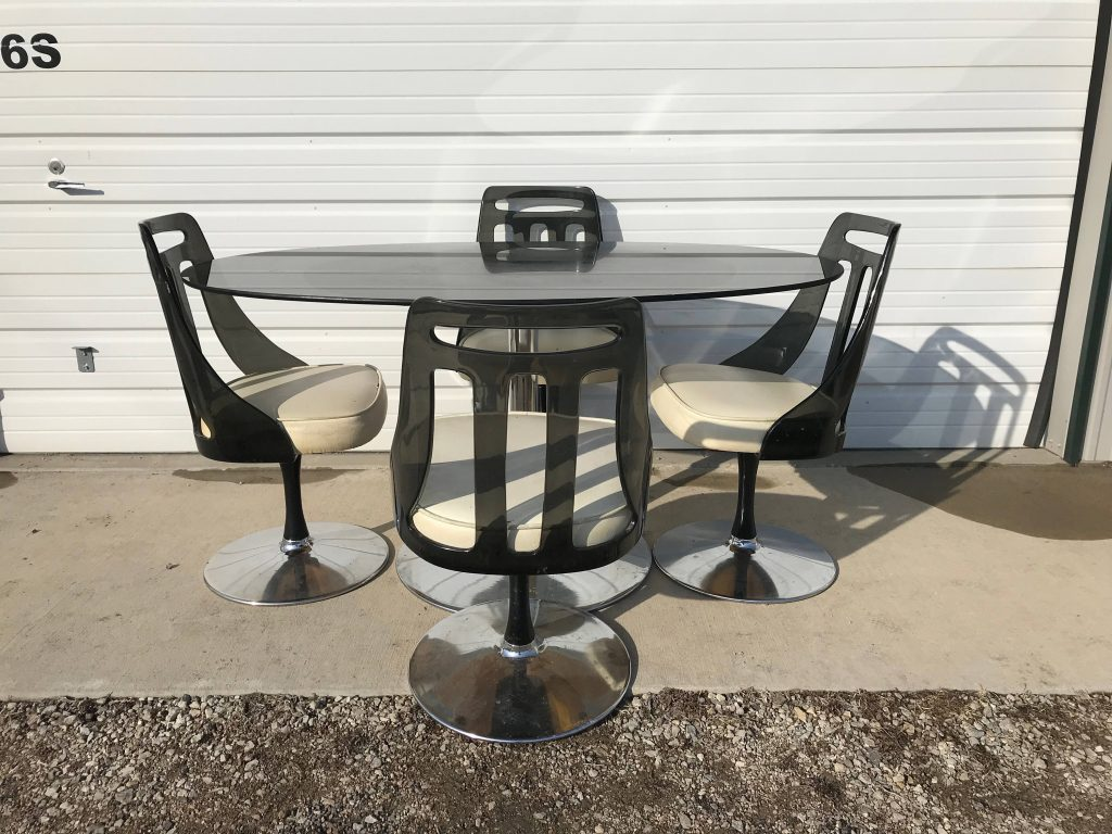 Dining Set Tulip Table Lucite Chair Black Mid Century Modern Mcm