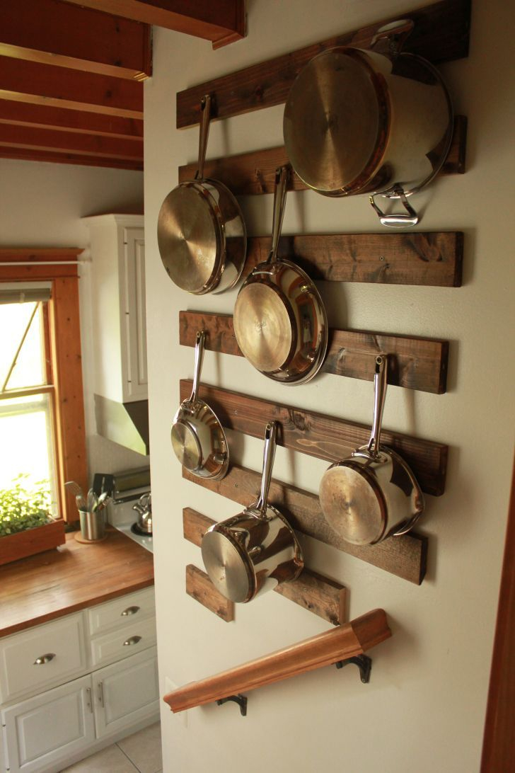 Diy Wall Mounted Pot Rack Dream Home Kitchen Wall Storage