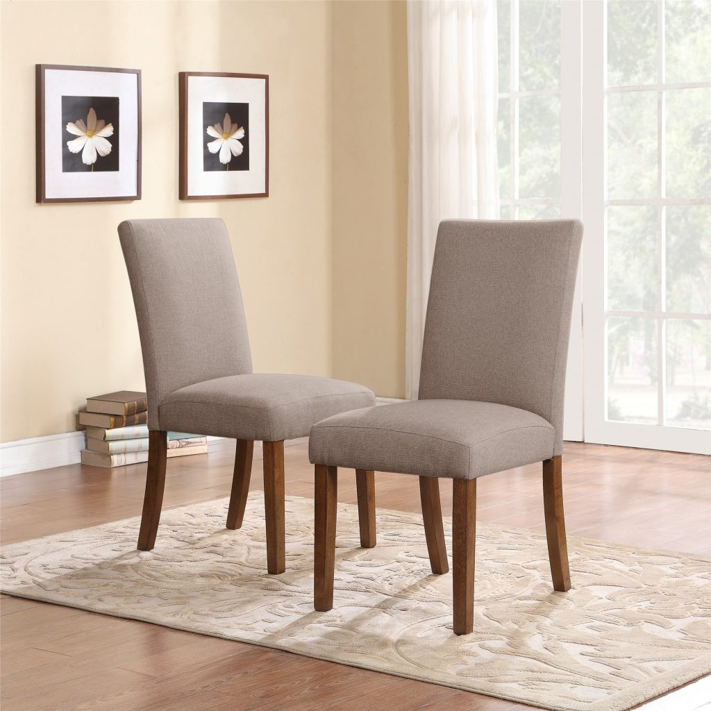 Dorel Living Dorel Living Linen Parsons Chairs Taupe Dark Pine