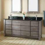 Double Sink Vanity Glass Bowls Faucets Sinks Lights Beautiful
